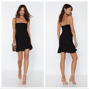 nasty gal / flip em off black dress ruffle lbd nwt
